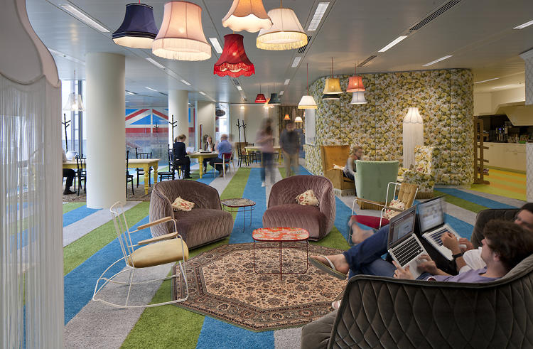 GOOGLE LONDON -- Google London's cafeteria offers employees a seeting area where they can meet in small groups