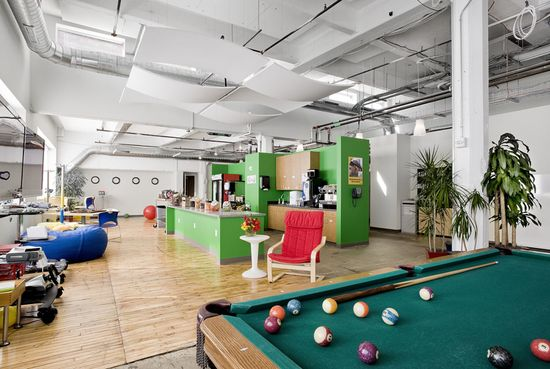 GOOGLE PITTSBURGH -- The Pittsburgh office fills the penthouse of a 100-year-old Nabisco factory with pool tables and other crucial aids to techie focus