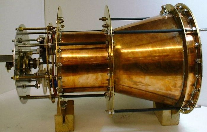 Prototype of the EmDrive microwave thruster engine developed by scientists at NASA