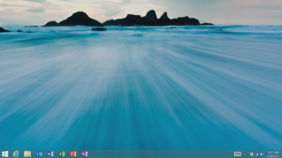 Microsoft added the START button (far left) to the Windows 8 desktop startup bar