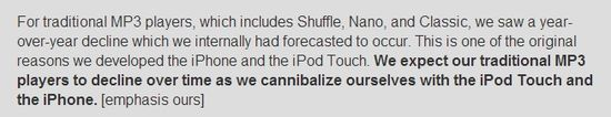 The cannibalization of the Apple iPod