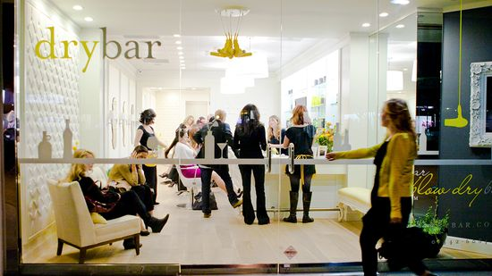 View of the inside of the Upper East Side Drybar salon through the window