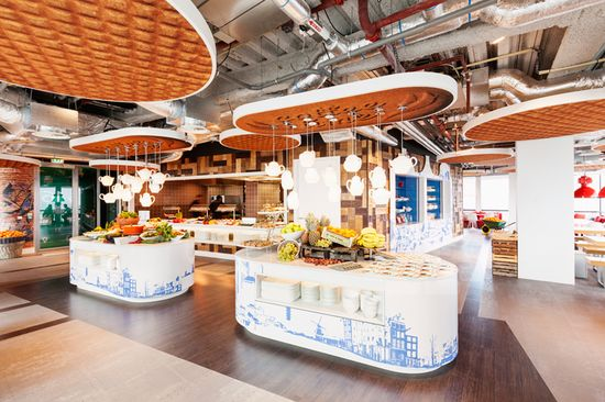 GOOGLE AMSTERDAM -- The ceiling panels are designed to look like stroopwafels--that quintessentially Dutch gooey waffle-cookie. Maybe Googlers draw inspiration from sugar cravings
