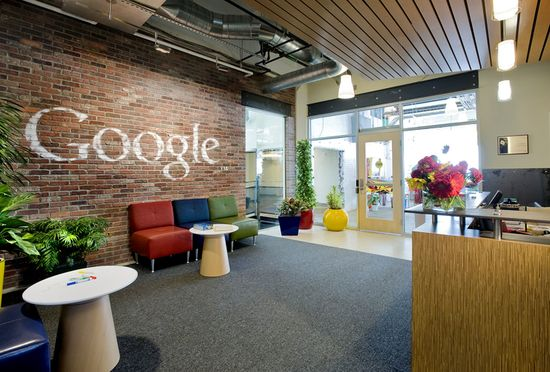 GOOGLE PITTSBURGH -- For their Pittsburgh headquarters, Google opted for exposed brick and peeled paint to channel the Steel City's rough-and-tumble vibe