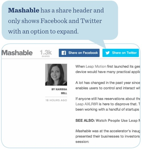 Mashable has a share header and only shows Facebook and Twitter with an option to expand