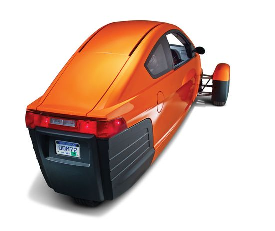 The Elio three-wheeled car (rear view)