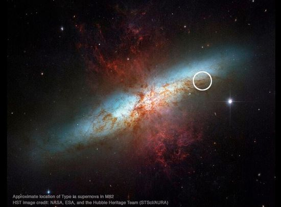 This is the starburst galaxy M82 imaged by Hubble in 2006, with approximate location of the #supernova noted