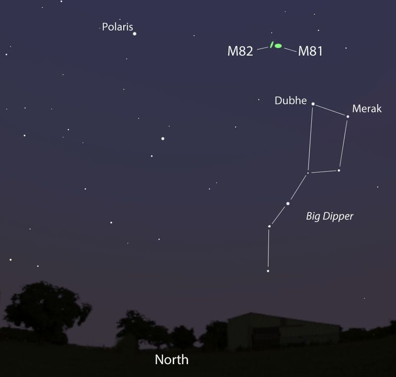 The location of the M82 galaxy where the supernova occured is located near M81 just above the Big Dipper facing north