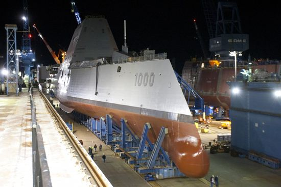 The hull of the ship is made of a composite material which effectively absorbs radar waves