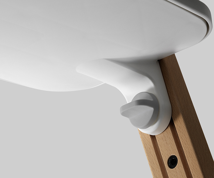 The modularity of Stokke Steps revolves around a series of knobs that slide and then lock into place, while still looking stylishly unobtrusive