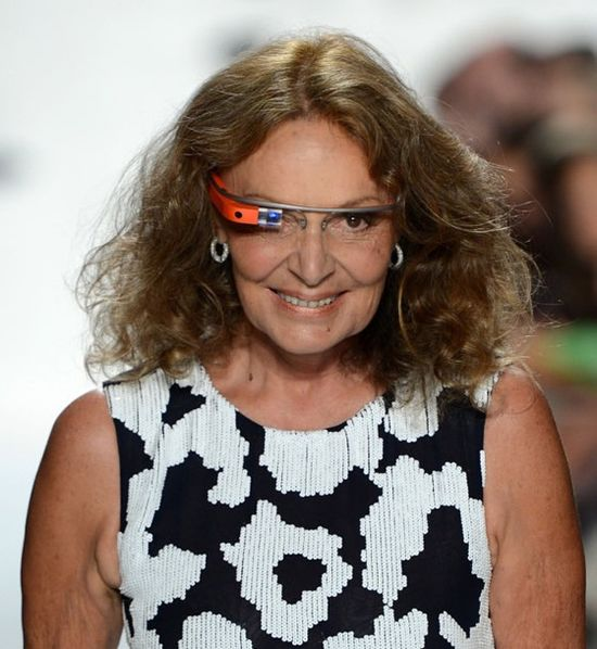 Diane-Von-Furstenberg-sports a pair of original Google-Glasses during a runway show in 2013