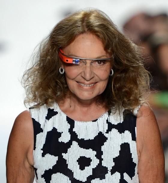 Diane-Von-Furstenberg-sports a pair of original Google-Glasses during a runway show in 2013