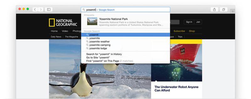 Apple OS X Mavericks Safari search