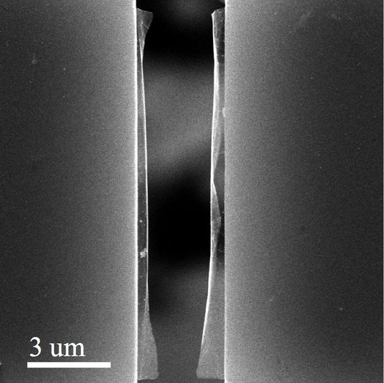 A pre-cracked sheet of graphene was suspended and pulled apart - The Nanomaterials, Nanomechanics and Nanodevices Lab-Rice University