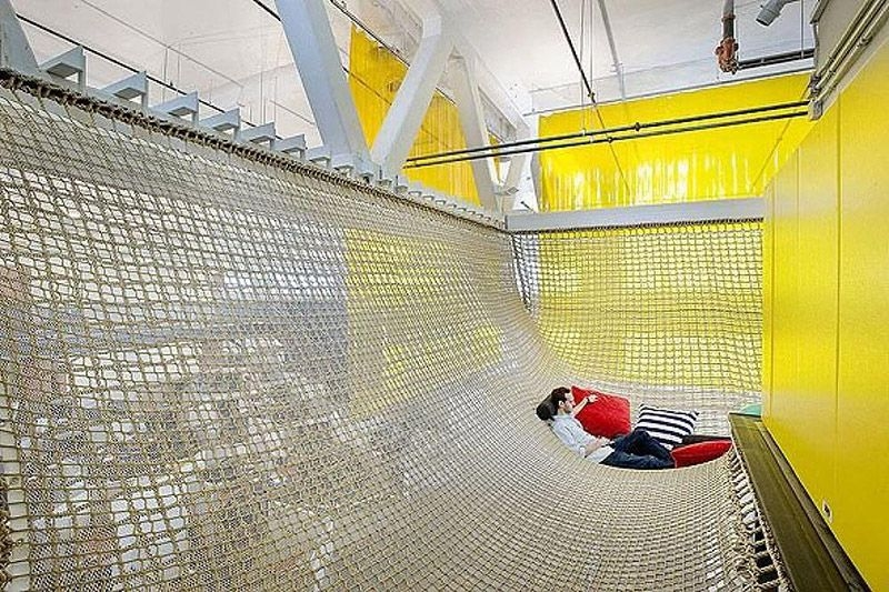 This hanging netting makes the perfect place to hack, come up with new ideas or just relax at Google's Pittsburgh, Pennsylvannia office