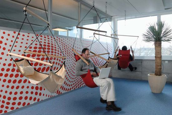 In this hammock filled room in Google's Zurich, Switzerland office, employees hang from hammocks or slings to hack, read, invent or just relax