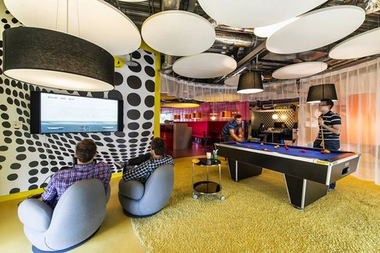 GOOGLE DUBLIN -- Lounge chairs, pool tables, and interesting light fixtures abound, all of which help create a relaxing, fun-filled work environment