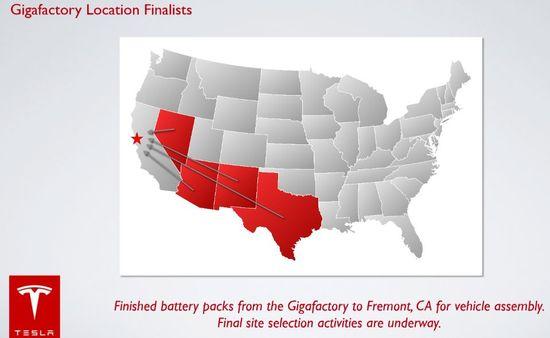 Tesla Gigafactory proposed factory sites include Nevada, Arizona, New Mexico and Texas