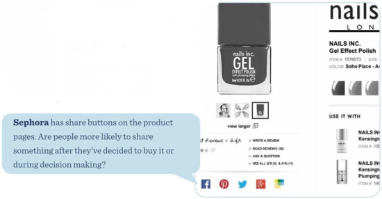 Sephora has share buttons on the product pages