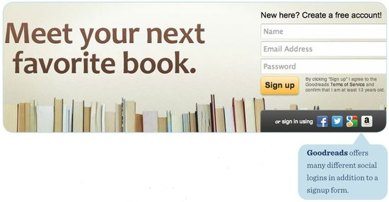 Goodreads offers many different social logins in addition to a signup form