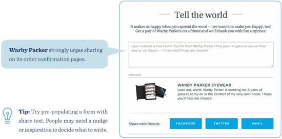 Warby Parker strongly urges sharing on its order confirmation pages