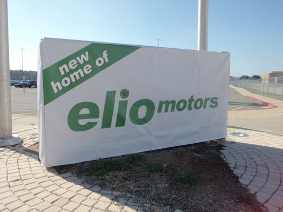Elio Motors executives placed a temporary sign outside the former General Motors plant in Shreveport