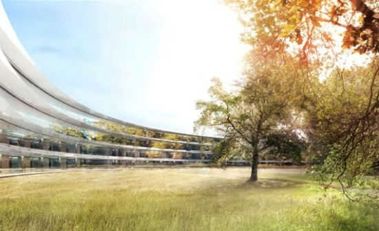 Rendering of an exterior view of the inner circle of the new Apple Headquarters 2