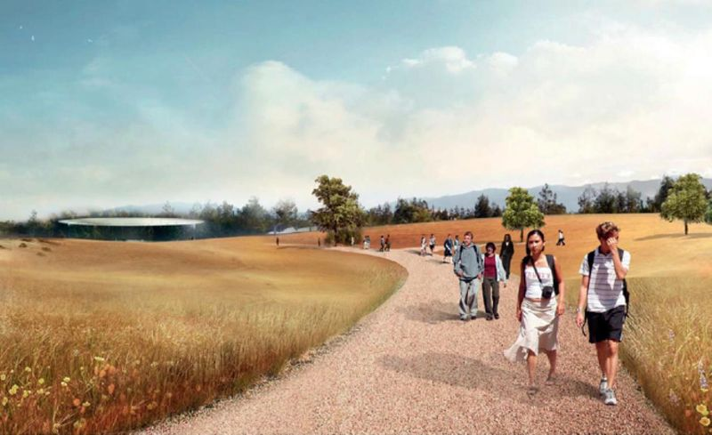 Rendering of the many walking and jogging trails on the property of the new Apple Headquarters 2