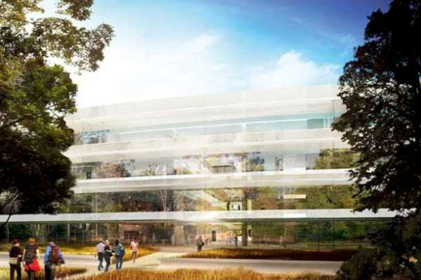 Rendering of the main entrance to the new Apple Headquarters 2