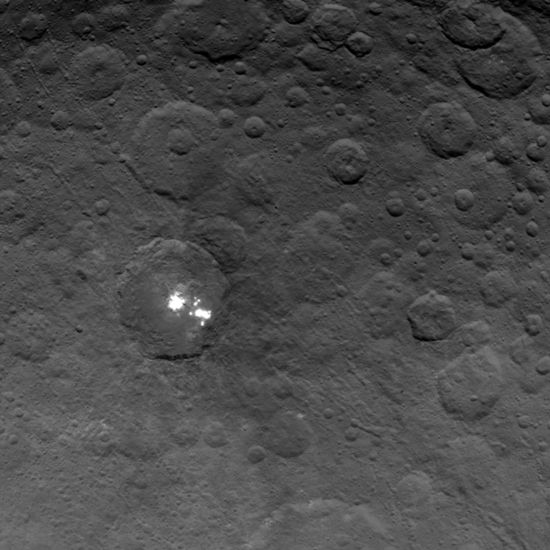Mysterious bright spots on Ceres taken by the Dawn spaceprobe from a distance of 2,700 miles on June 6, 2015 - NASA-JPL  A