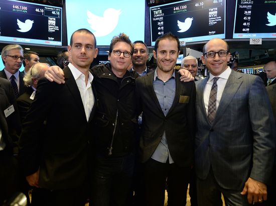 Twitter CEO Dick Costolo (far right) with Twitter co-founders Jack Dorsey, Biz Stone and Evan Williams during its successful IPO on November 7, 2013