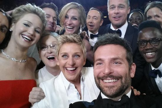 Ellen Degeneres, Academy Awards Show host, does a mass selfie and posts it to Twitter