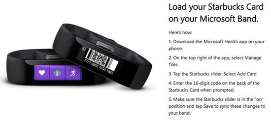 Load your Starbucks Card on your Microsoft Band