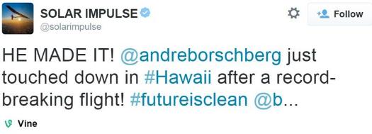Solar Impulse tweets 'HE MADE IT' on July 3, 2015