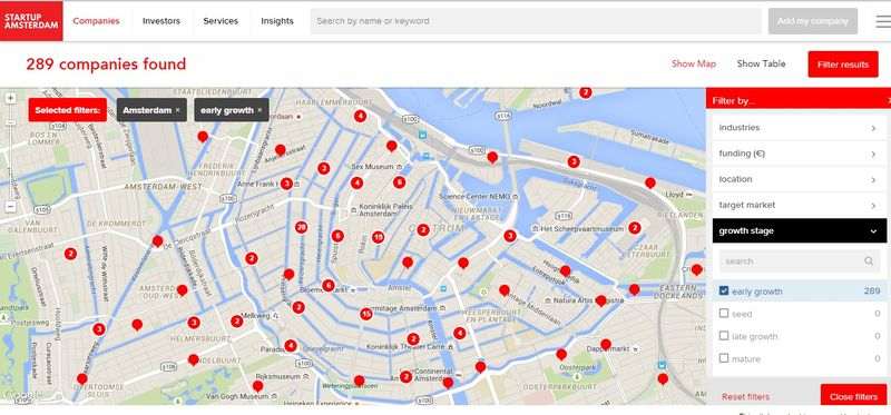 AmsterdamStartupMap - 289 Early State Startups located
