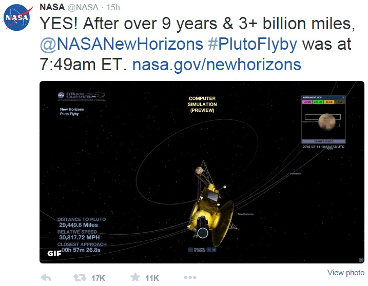 NASA announces flyby of Pluto by the New Horizons spacecraft