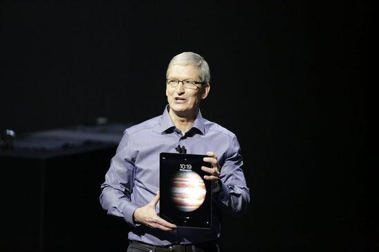 Apple CEO Tim Cooks unveils the new iPad Pro tablet