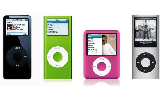 Different iterations of the Apple iPod Nano music player