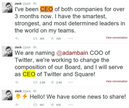 Jack Dorsey announces he is taking the helm as CEO of Twitter in a tweet