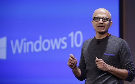Satya Nadella CEO Microsoft gives keynote at Microsoft Windows 10 Device Event today