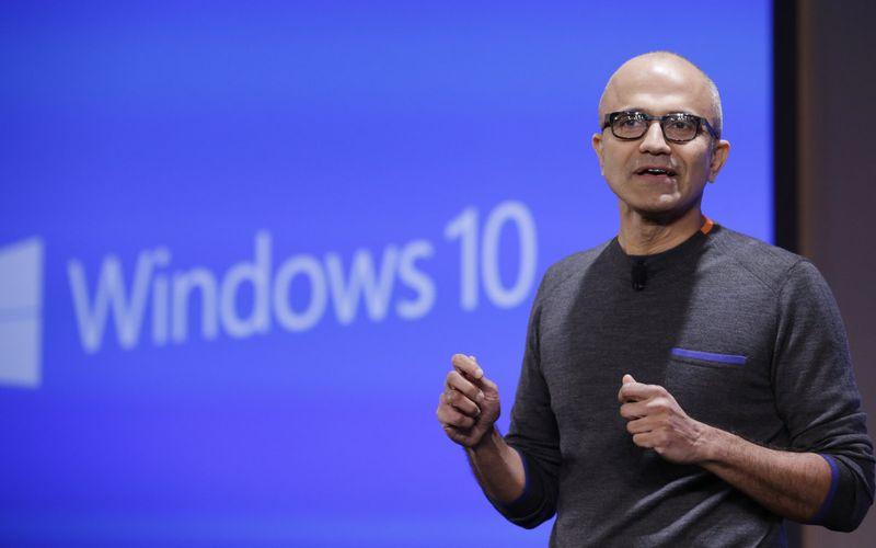 Satya Nadella CEO Microsoft gives keynote at Microsoft Windows 10 Device Event today
