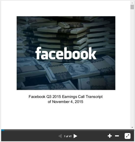 Facebook Q3 2015 Earnings Call Transcript of November 4, 2015