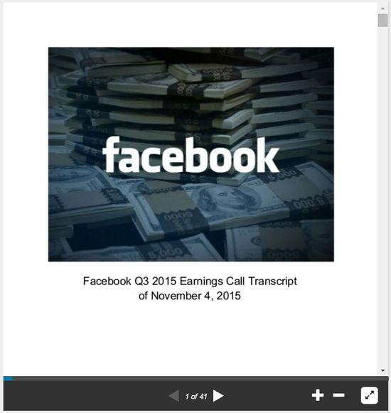 Facebook Q3 2015 Earnings Call Transcript of November 4, 2015