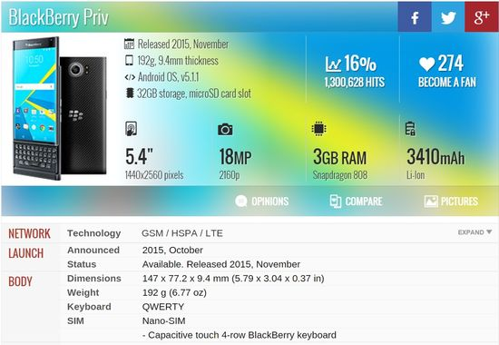 BlackBerry Priv Specifications - GSMARENA 1