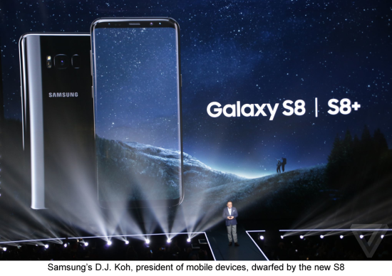 Samsung's D J Koh  President of Samsung Mobile Devices  unveils the new Samsung Galaxy S8 and S8 Plus smartphone