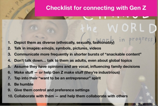 Gen Z -- A checklist for connecting with them