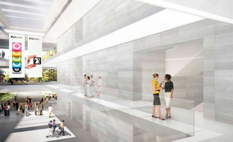 Rendering of the interior of the new Apple Headquarters 2