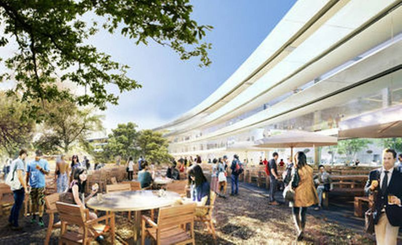 Rendering of an exterior view of the cafe and lounging area of the new Apple Headquarters 2