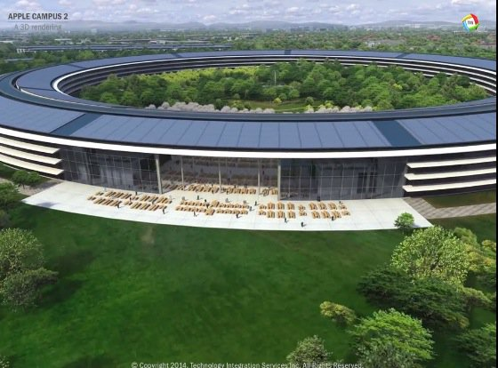 Rendering of an overhead view of the cafe and lounge area of the new Apple Headquarters 2