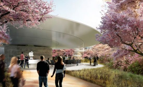 Rendering of the interior quad area of the new Apple Headquarters 2